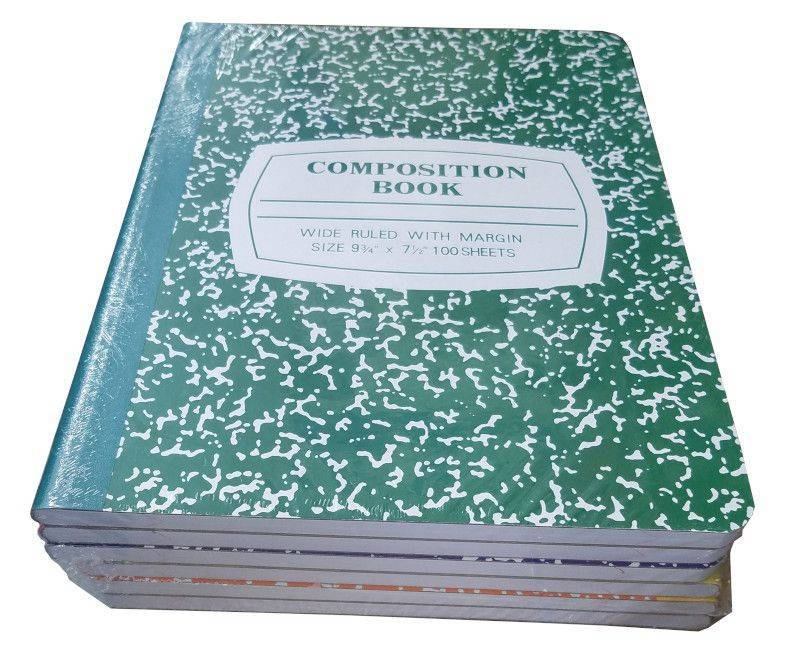 6 Pack Colour Marble Composition Book