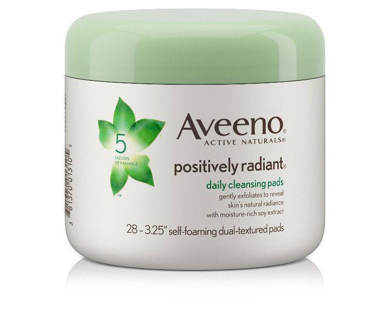 Aveeno Positively Radiant 28 Daily Cleansing Pads - Self Foaming Dual Textured Pads