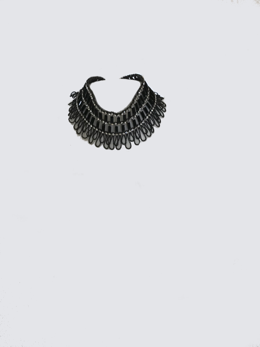 Black Choker Necklace With Crystal Stones and Black Details