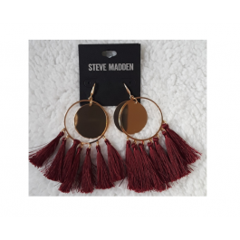 Burgundy/Gold  Hoop Tassel Fringe Earrings by Steve Madden