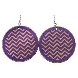 Chevron Hand Painted Large Wooden Earrings