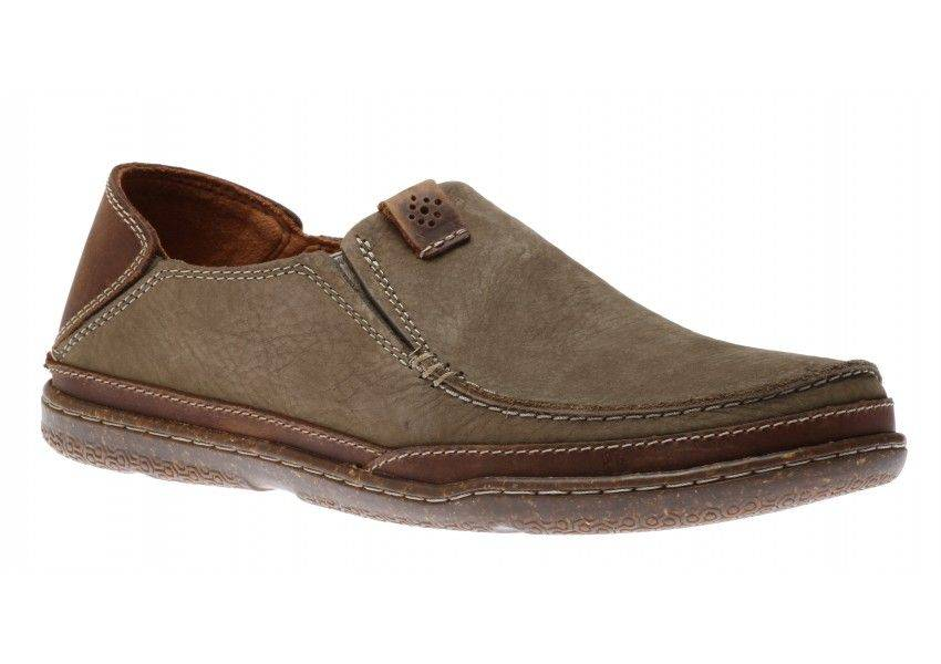 Clarks Trapell Form Mens Canvas Loafers in Olive-9.5
