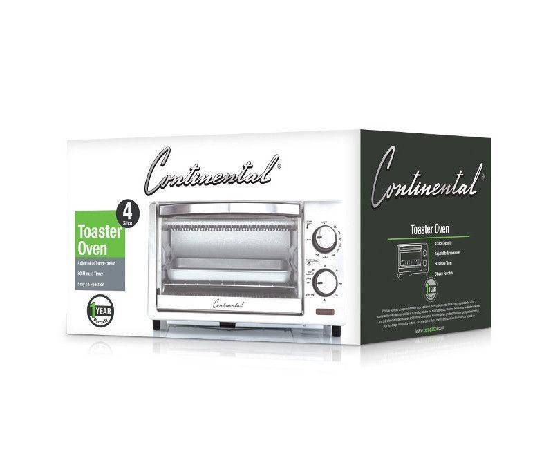 Continental 4 Slice Toaster Oven With 60 Minute Timer Model:CE-T0101