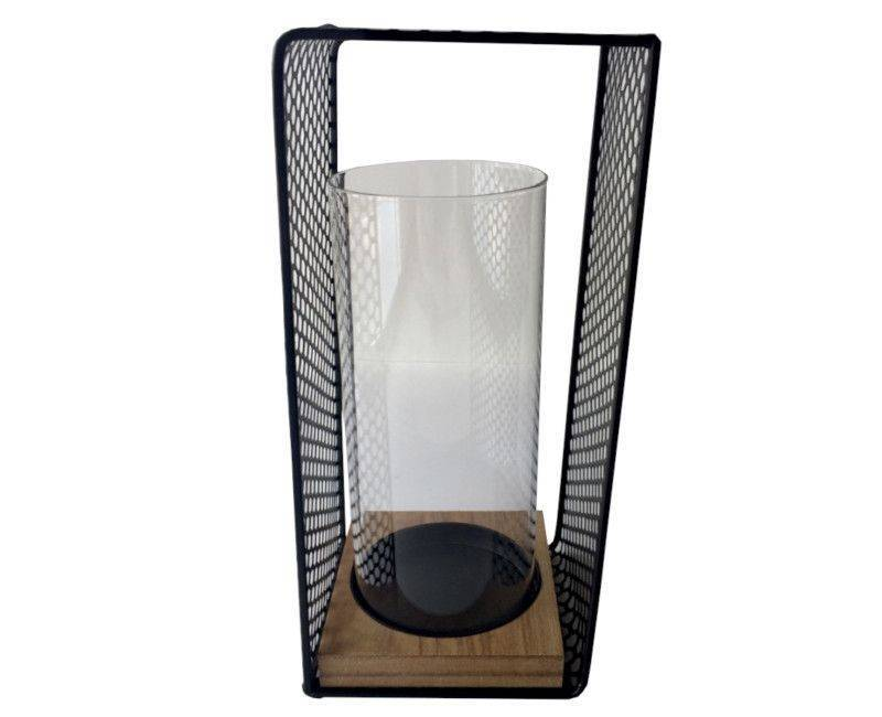 Metal Glass and Wood Candle Holder large