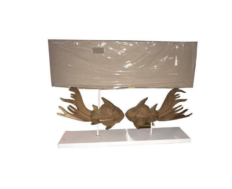 Double Fish White Base Light Shade Table Lamp