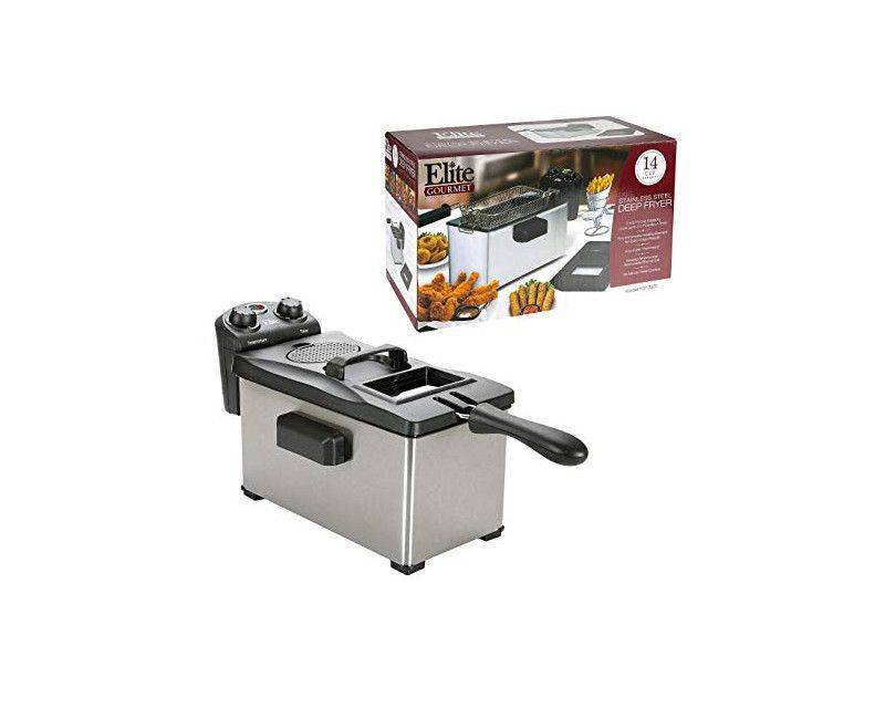 Elite Gourmet Stainless Steel 14 Cup Deep Fryer EDF-3500