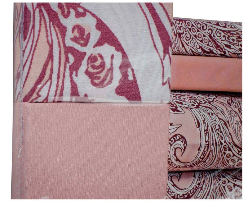 Home & You Pink with Pattern 4 Piece Queen Bedsheet Set