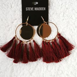 Hoop Tassel Earrings Burgundy