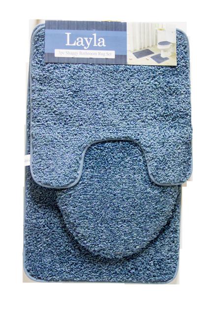 Layla 3 PC Shaggy Bathroom Rug Set