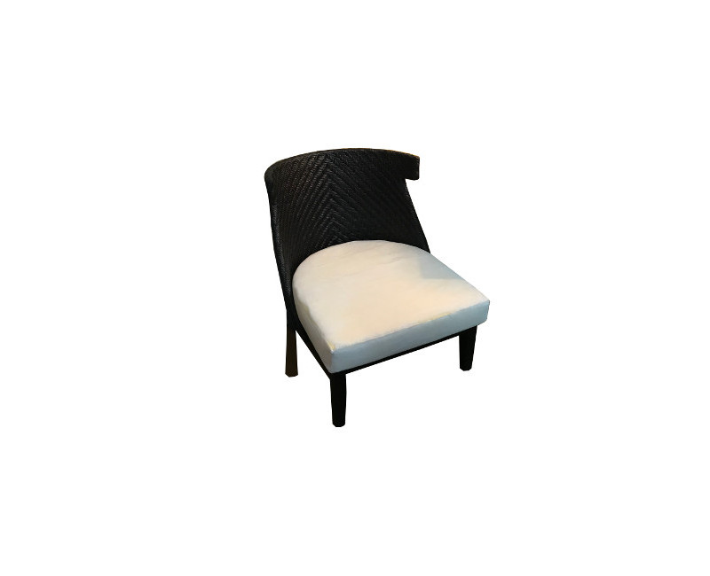 Lobby High Rhino Rattan Indoor Outdoor Dark Chair With White Cushion
