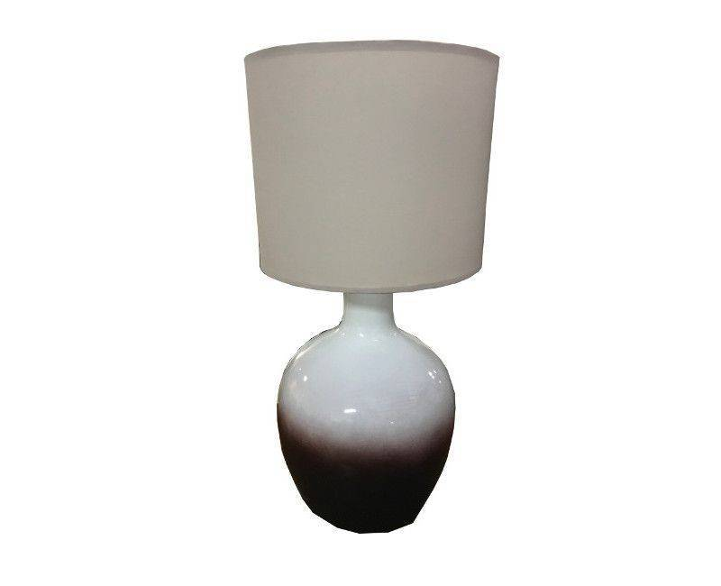 White And Brown Ombre Modern Ceramic Table Lamp With Neutral Lamp Shade