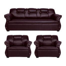 3 Piece  Brown Leather Sofa Set