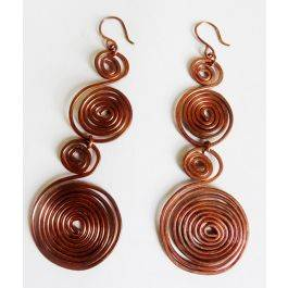 Swirl Goddess Copper Drop Earrings