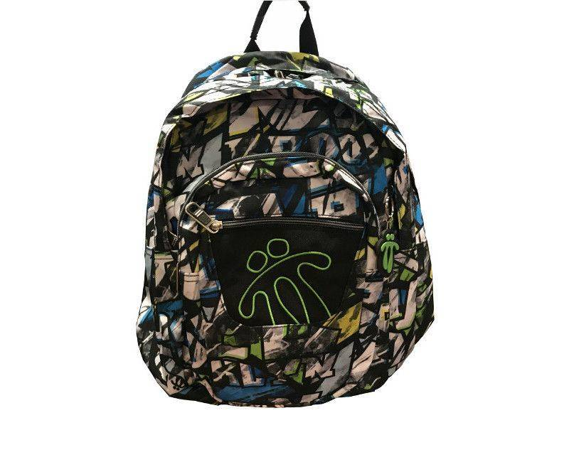 Toto Casual Multi White, Black, Green and Yellow 4 Zipper and Compartment Backpack School Bag