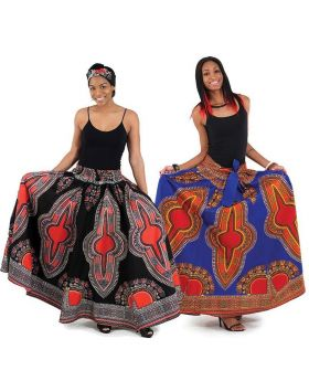 African Print Maxi Skirt with Waist Band and Pockets