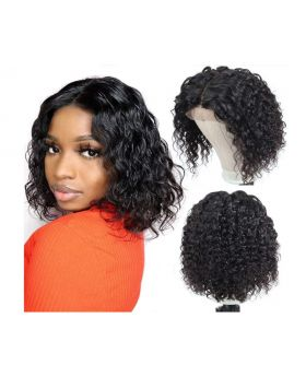 13x4 Lace Front Wigs Brazilian Water Wave Bob Wigs for Women 180% Density Pre Plucked Natural Color (8 inch)