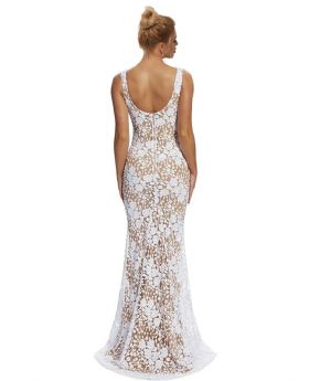 Cluster Sequin Mesh Overlay Plunging Maxi Dress