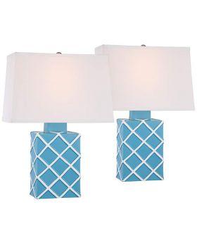 Blue Lattice Pattern Ceramic Table Lamp (Set)