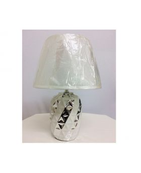 20 cm Ceramic Table Lamp- Silver & Black, Silver & White, Silver & Red