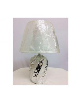 20 cm Ceramic Table Lamp- Silver & Black, Silver & White, Silver & Red-Silver & White
