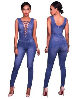 Women Deep V Neck Sleeveless Denim Jumpsuit