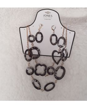 Necklace and Earring Set Snake Skin Pattern
