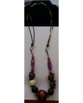 Lilibit Creation Necklace Extra-long , Large Beads Mixed Wood - One of a Kind