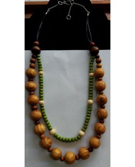 Lilibit Creation Necklace  Beads of Natural Wood in Coconut Design, Double Strings