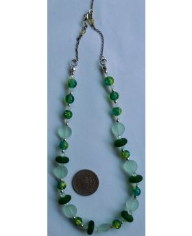 Lilibit Creation Necklace Beads of : Green Sea Glass, Crackle Glass, Silver Separators - One of a Kind Creation