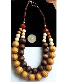 Lilibit Creation Necklace Beads of Natural Wood in Coconut Design, 2 Strings  – One of a Kind Design