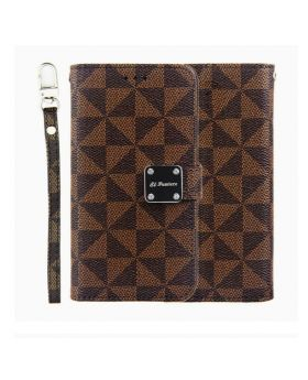 iPhone 11 Pro Max Checker Pattern Multi-Card Slot Wallet Case - Brown
