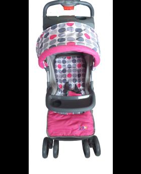 Wonder Baby Pink/Grey Polka Dot Stroller