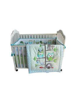 7 Piece Embroidered Owl Crib Set