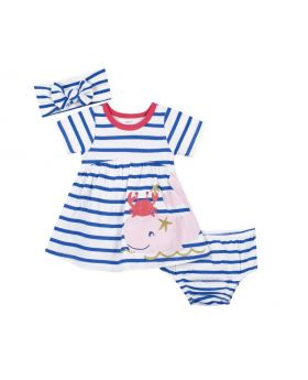 3-Piece Baby Girls Whale Dress, Diaper Cover, And Headband Set