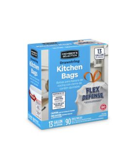 Member's Selection Drawstring Kitchen Trash Bags 90 Pack
