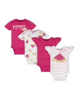 4-Pack Baby Girls Watermelon Short Sleeve Onesies Bodysuits
