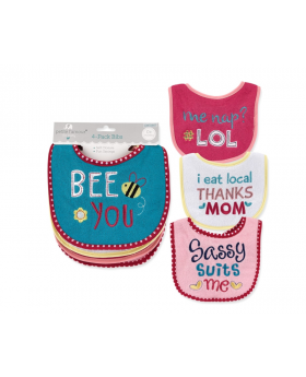 4 Pack Bee You Self Closure Bibs