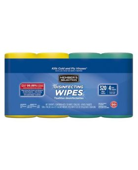 Member's Selection Disinfecting Wipes 320 Wipes 4 Pack