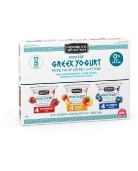 Member's Selection Non Fat Greek Yogurt with Fruit on the Bottom 150 g/5.3 oz 12 Pack
