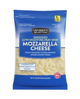 Member's Selection Shredded Low-Moisture Part Skim Mozzarella Cheese 2.26 kg/5 lbs