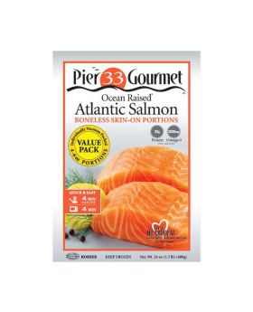 Pier 33 Gourmet Ocean Raised Atlantic Salmon Boneless & Skin On Portions 680 g/1.5 lbs