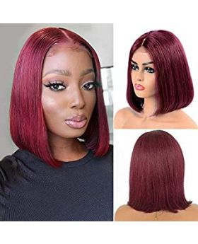 99J Burgundy Brazilian Straight Bob Short Lace Front Virgin Remy Human Hair Wigs Pre Plucked Hairline Natural Wigs 10 inch