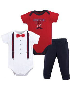 2 Bodysuit and Pants 3 Piece Set Handsome Little Man
