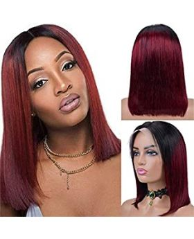 Straight T Part Bob Wigs Ombre Burgundy Virgin Human Hair Lace Frontal Wigs 1B/99j 13x1x4 Lace 180% Density Pre Plucked with Baby Hair 10 Inch Bleached Knot Middle Part Ombre 99J Bob Wigs
