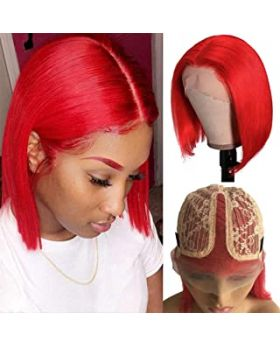 Short Bob Wigs Real Human Hair Red Wig T Part Pre Plucked Straight Bob Lace Front Wig 180% Density 10 inch