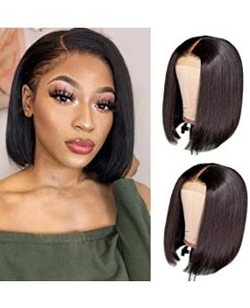 Brazilian Virgin Straight Bob Lace Front Wigs Human Hair Glueless Pre Plucked with Baby Hair Short Bob Straight 4x4 lace closure Wig (10 inch, 150% Density)
