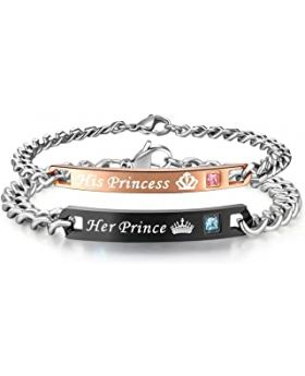 His Princess and Her Prince Black and Gold Couple Stainless Steel Bracelet Set for Men and Women