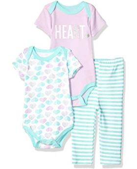 Quiltex Baby Girls' Toddler Sweet Heart 3 Piece Turn Me Around Pant Set