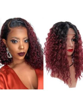 Ombre 1B/99j Curly Human Hair Wigs Lace Front Brazilian Virgin Hair Wigs Water Wave 4x4 Lace Closure Pre Plucked 180% Density with Baby Hair 18 Inch