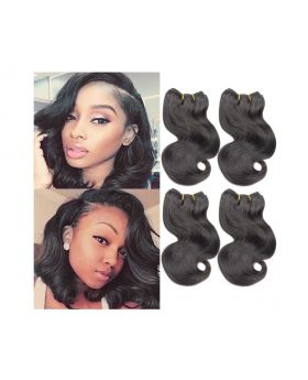 "8"" Human Hair extensions 4 Bundles Natural Colour Brazilian Remy Hair Extensions Body Wave (8"", 1B)"